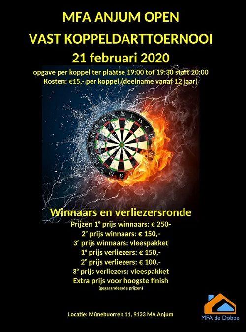 MFA Anjum open vast koppeldarttoernooi 21 februari